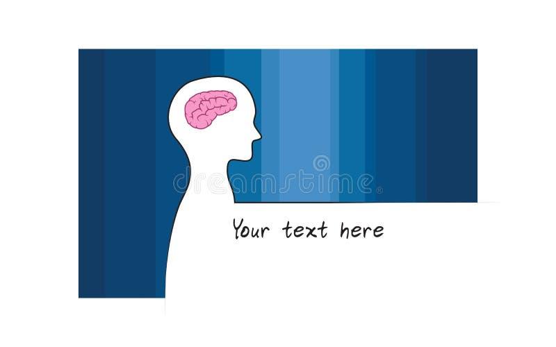 Abstracte sillhouette van persoon met blauwe kleurenachtergrond Het symbool van intelligentiehersenen Witte versie vector illustratie