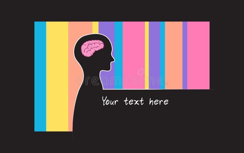 Abstracte sillhouette van persoon met de achtergrond van de regenboogkleur Het symbool van intelligentiehersenen royalty-vrije illustratie