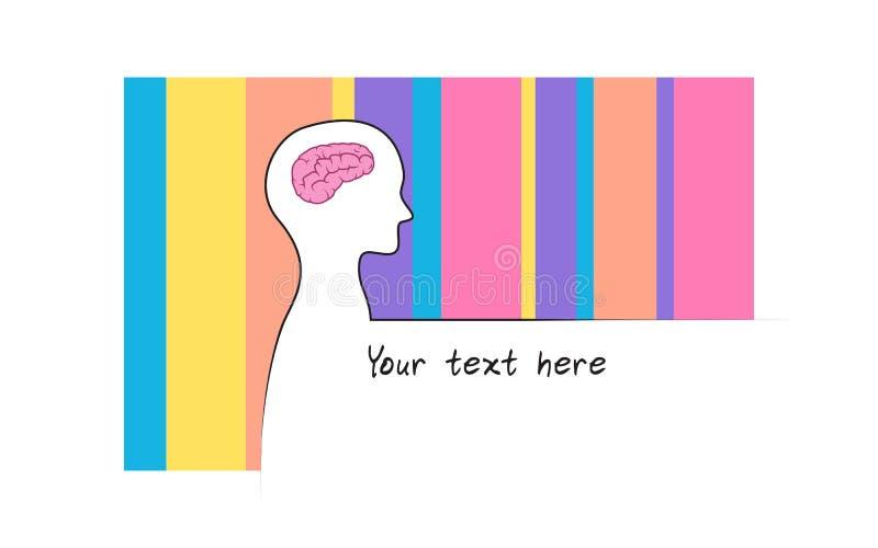 Abstracte sillhouette van persoon met de achtergrond van de regenboogkleur Het symbool van intelligentiehersenen Witte versie stock illustratie