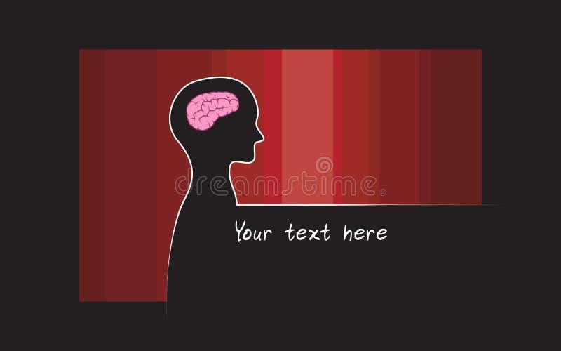 Abstracte sillhouette van persoon met rode kleurenachtergrond Het symbool van intelligentiehersenen royalty-vrije illustratie