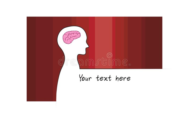 Abstracte sillhouette van persoon met rode kleurenachtergrond Het symbool van intelligentiehersenen Witte versie royalty-vrije illustratie