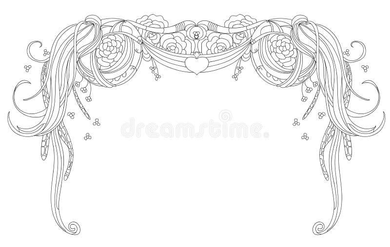 Abstracte slinger en rozen op een witte achtergrond vector illustratie