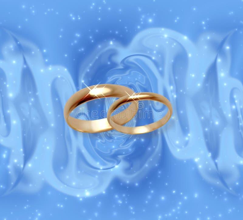 Abstracte sneeuwachtergrond met trouwringen stock illustratie