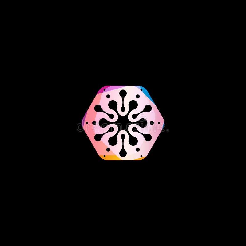 Abstracte sneeuwvlok kleurrijke vorm De ongebruikelijke cirkels spelen geïsoleerd vectorembleemmalplaatje op zwarte achtergrond m stock illustratie