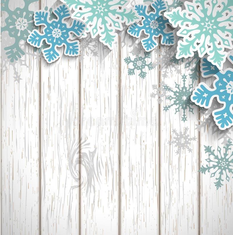 Abstracte sneeuwvlokken op wit hout, de winterconcept vector illustratie