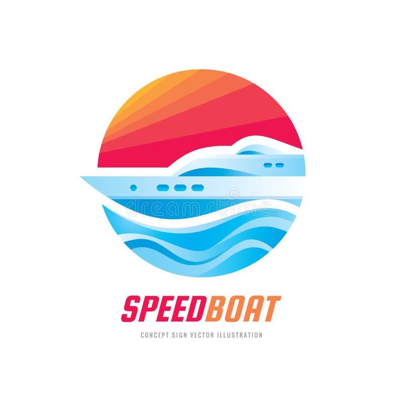 Abstracte snelheidsboot en blauwe overzeese golven - vector het conceptenillustratie van het bedrijfsembleemmalplaatje Oceaanschi vector illustratie