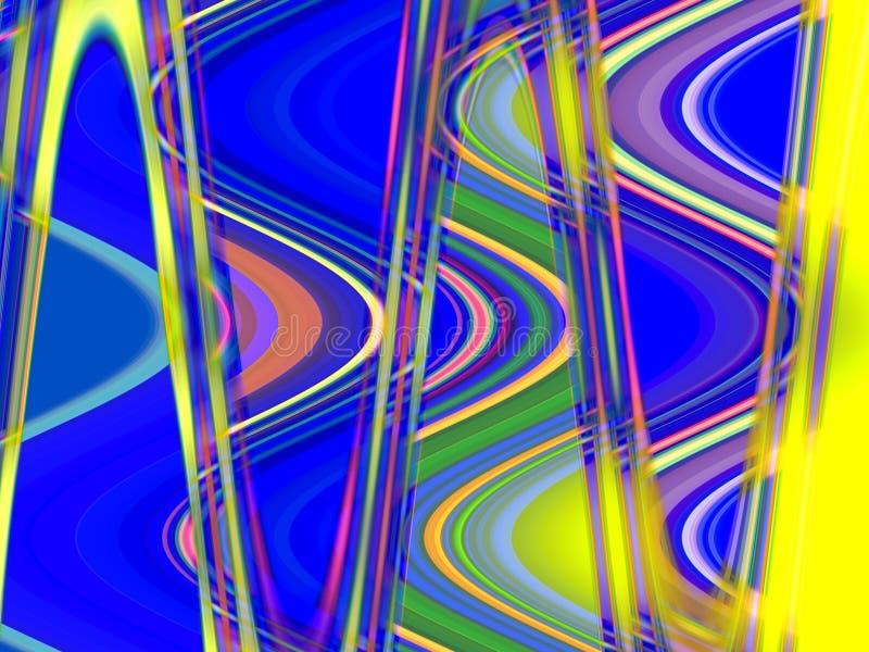 Abstracte speelse gele blauwe vormen, meetkunde, heldere achtergrond, kleurrijke meetkunde stock illustratie