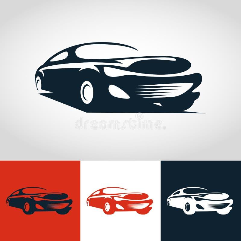 Abstracte sportwagenillustratie Het vectormalplaatje van het embleemontwerp stock illustratie