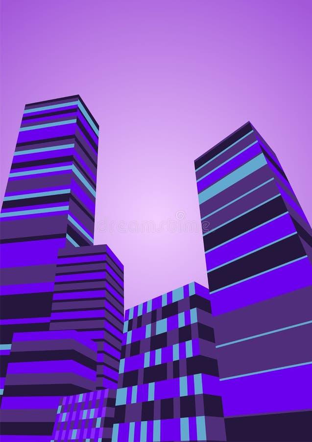 Abstracte Stads nacht-Achtergrondvector royalty-vrije illustratie