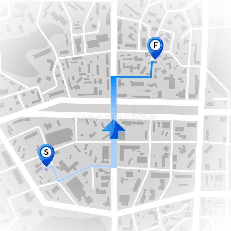Abstracte stadskaart GPS en navigatieconcept Reisroute Druk met stadstopografie Regeling van het stads de woondistrict Vector vector illustratie