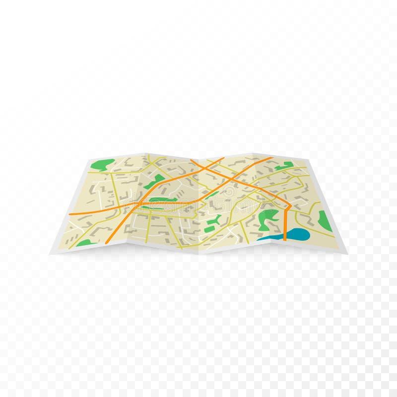 Abstracte stadskaart Vectordieillustratie op transparante achtergrond wordt geïsoleerd vector illustratie