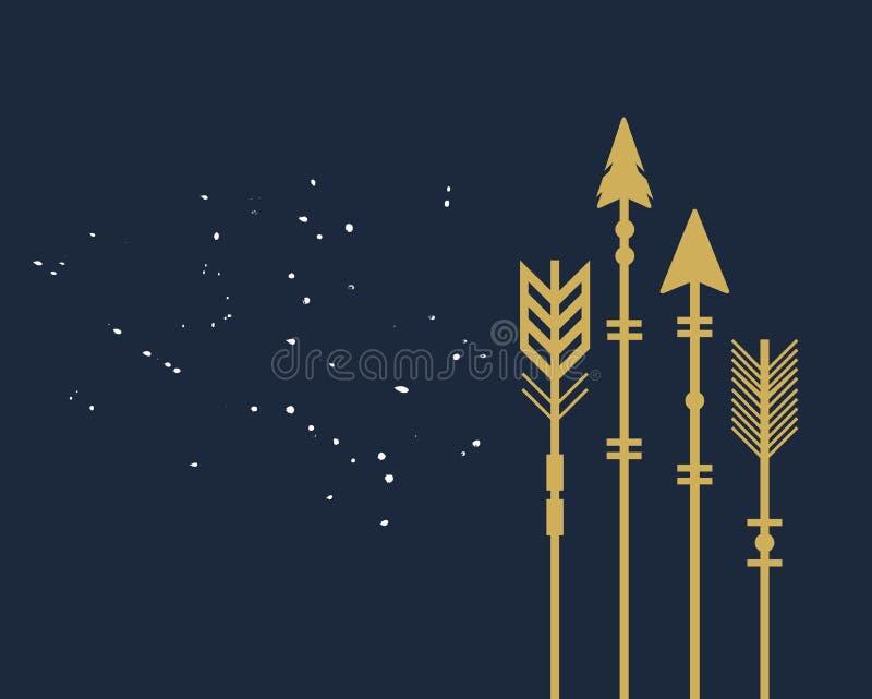 Abstracte stammen de pijlenkaart van de in close-up lege gouden besnoeiing royalty-vrije illustratie