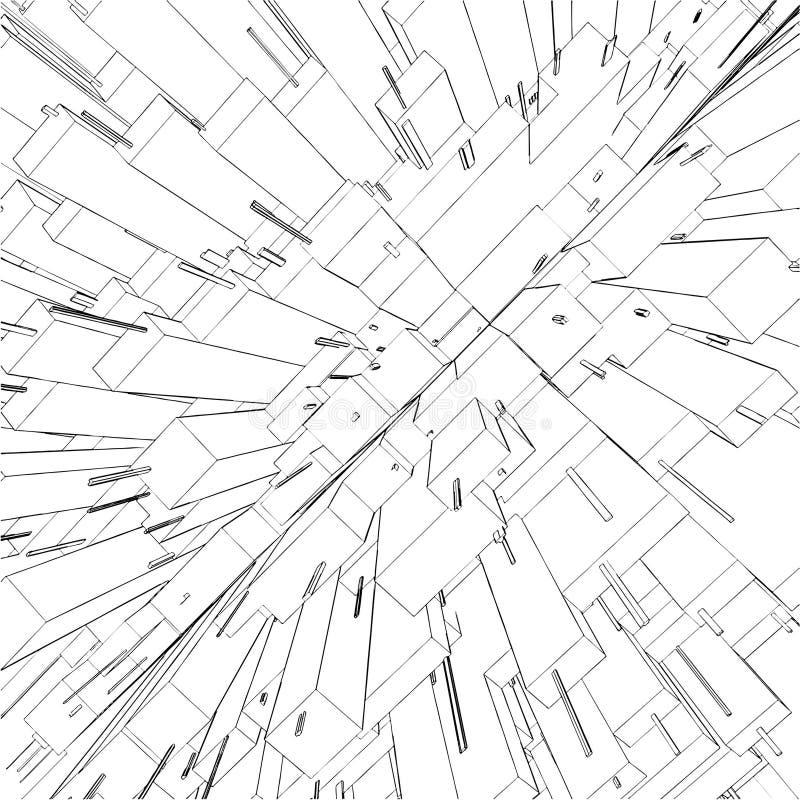 Abstracte Stedelijke Stad van Vector 55 van Wolkenkrabbers stock illustratie