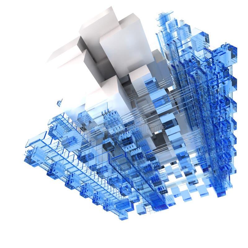 Abstracte structuur in blauw en wit stock illustratie