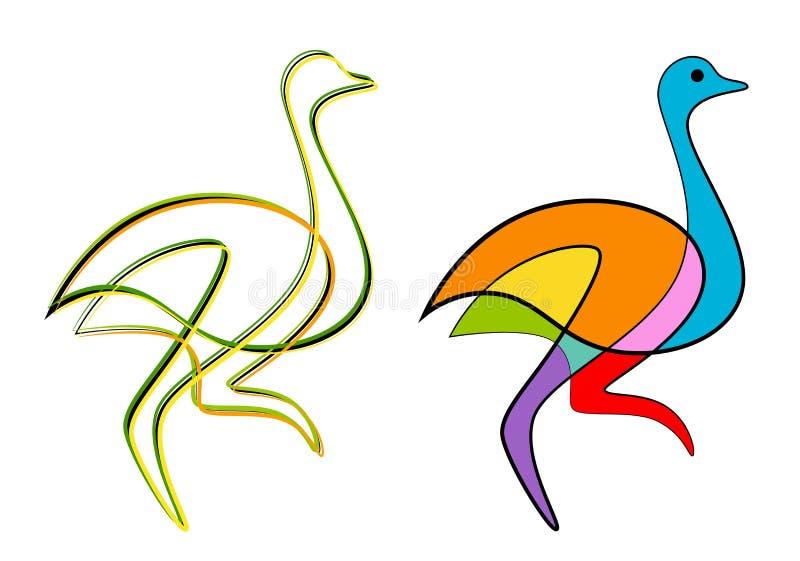 Abstracte struisvogel stock illustratie