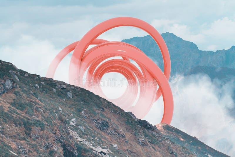 Abstracte surreal vorm in het midden van mistig berghellingslandschap Natuurlijk en unkown royalty-vrije stock foto