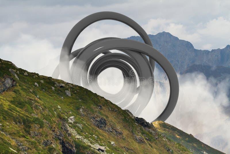 Abstracte surreal vorm in het midden van mistig berghellingslandschap Natuurlijk en unkown royalty-vrije stock afbeeldingen