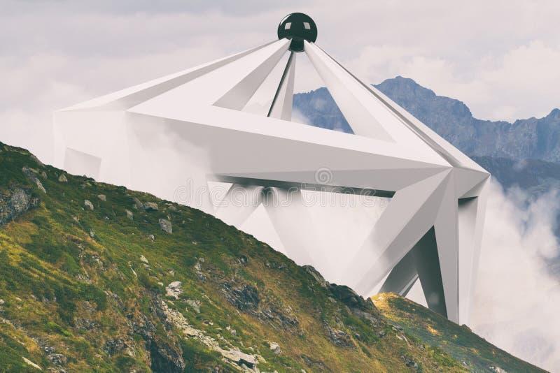 Abstracte surreal vorm in het midden van mistig berghellingslandschap Natuurlijk en unkown stock foto