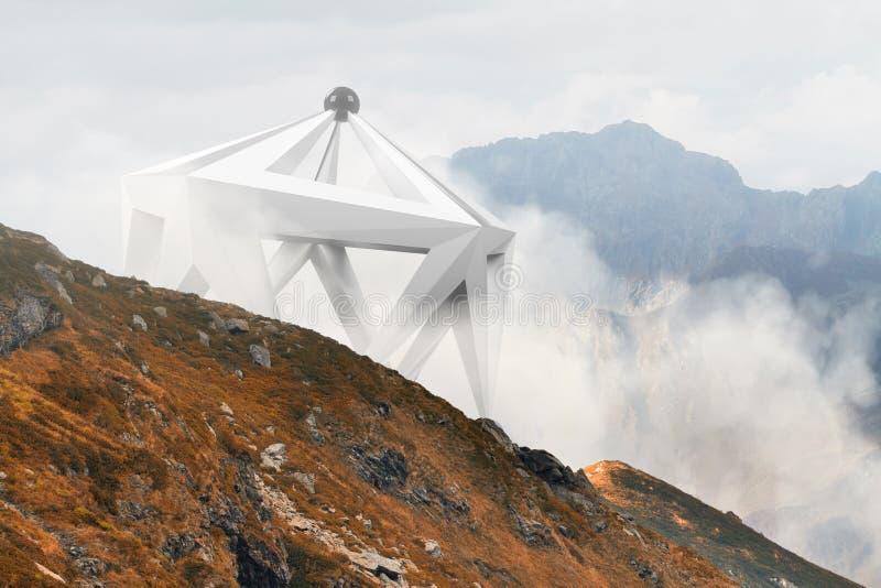 Abstracte surreal vorm in het midden van mistig berghellingslandschap Natuurlijk en unkown royalty-vrije stock fotografie