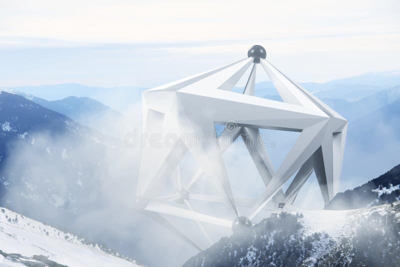 Abstracte surreal vorm in het midden van mistig berglandschap Natuurlijk en unkown stock afbeelding