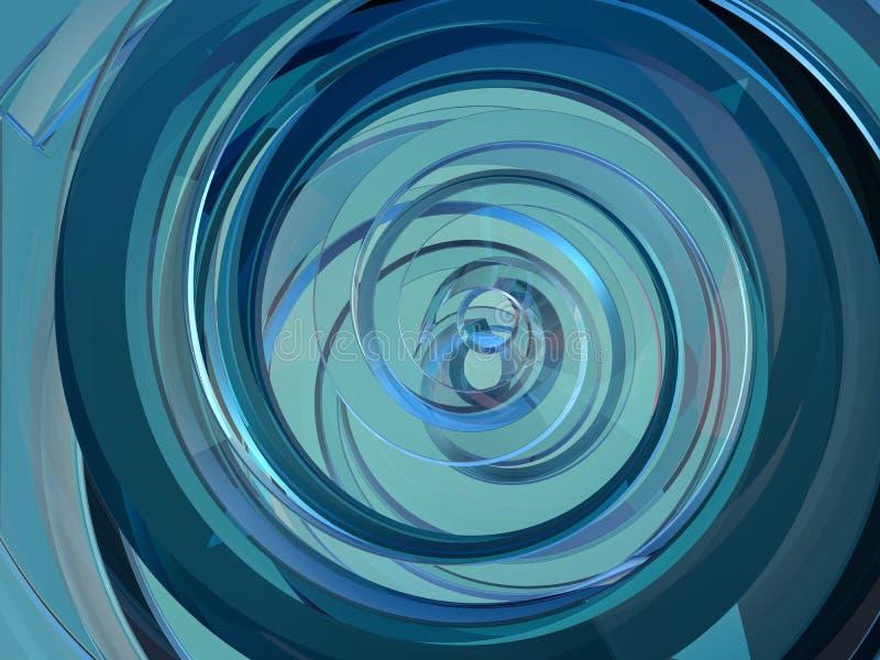 Abstracte swirly blauwe vorm op zwarte achtergrond 3d royalty-vrije illustratie