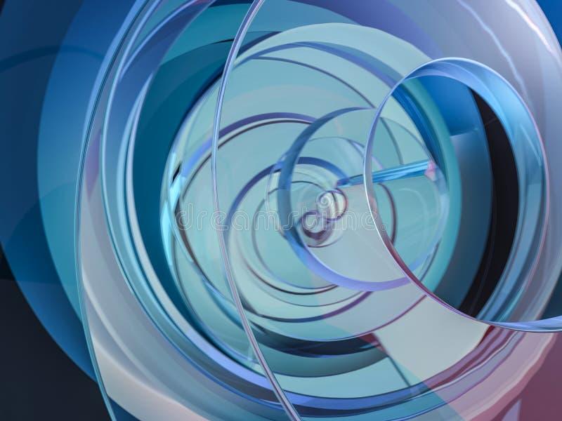 Abstracte swirly blauwe vorm op zwarte achtergrond 3d stock illustratie