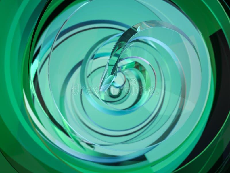 Abstracte swirly groene vorm op zwarte achtergrond 3d royalty-vrije illustratie