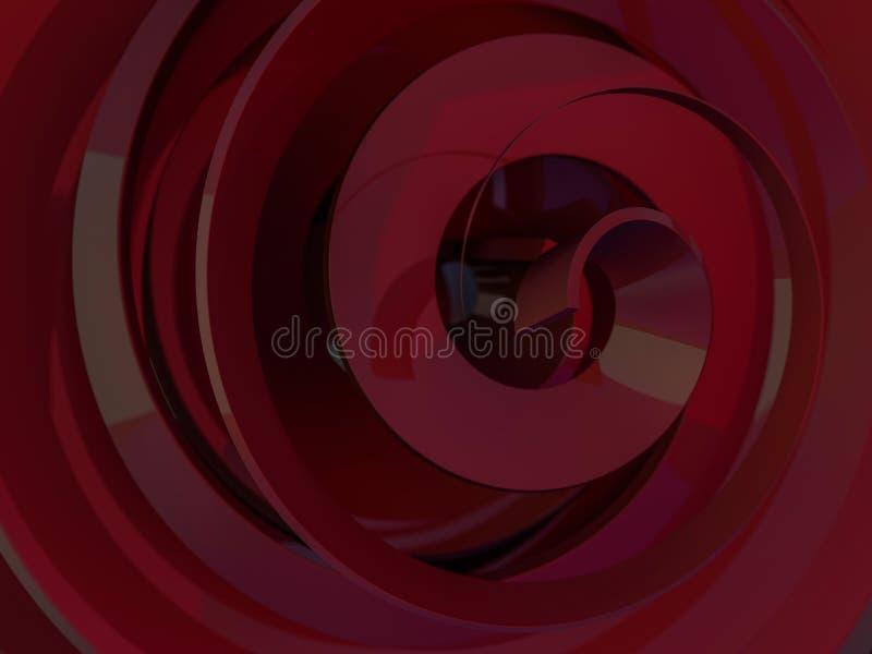 Abstracte swirly rode vorm op zwarte achtergrond 3d vector illustratie