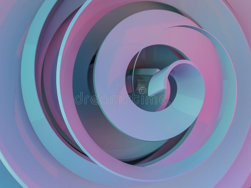 Abstracte swirly roze vorm op zwarte achtergrond 3d royalty-vrije illustratie