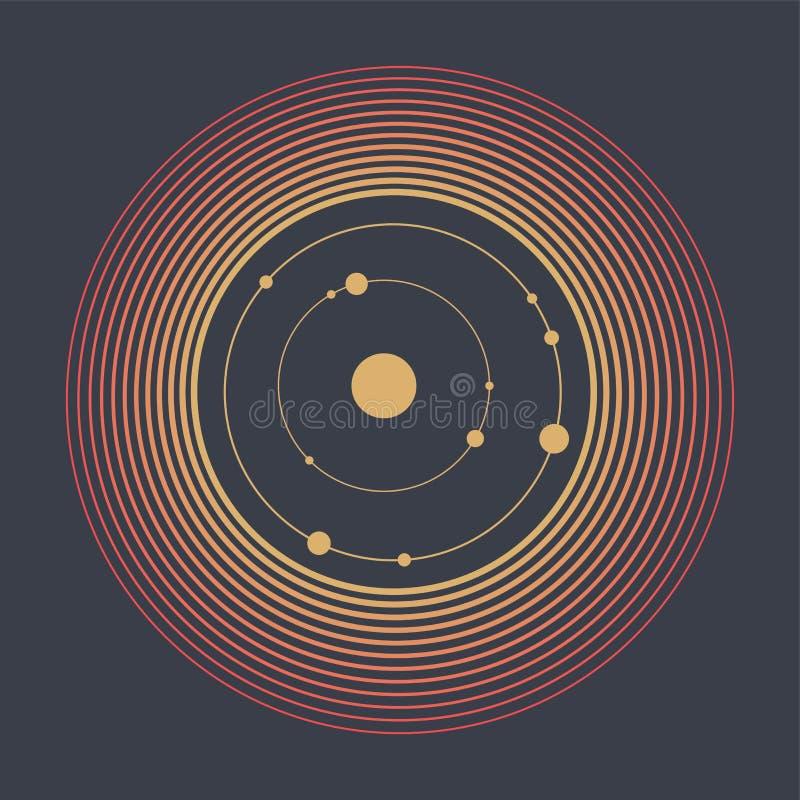 Abstracte technologie geometrische achtergrond Abstract Zonnestelsel Cirkels en knopen Het concept van de aansluting vector illustratie