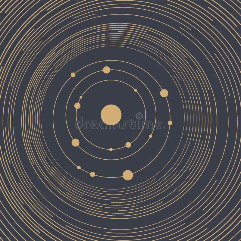 Abstracte technologie geometrische achtergrond Abstract Zonnestelsel Cirkels en knopen Het concept van de aansluting royalty-vrije illustratie
