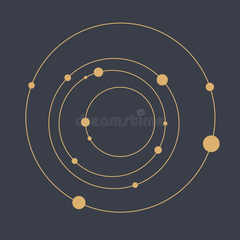 Abstracte technologie geometrische achtergrond Abstract Zonnestelsel Cirkels en knopen Het concept van de aansluting stock illustratie