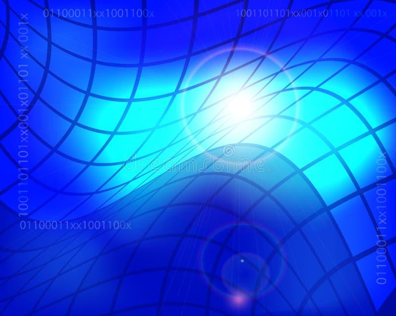 Abstracte technologieachtergrond met blauwe gloeiende vierkanten Concepten technisch ontwerp stock illustratie