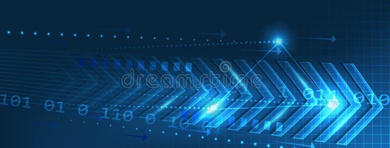 Abstracte technologiebanner met pijlenpatroon en kringsraad op een donkerblauwe achtergrond royalty-vrije illustratie