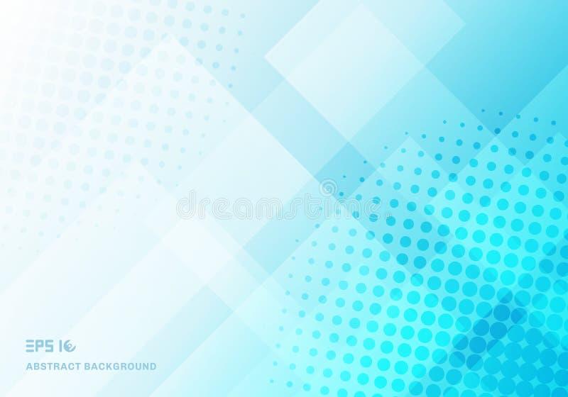 Abstracte technologievierkanten die met halftone blauwe achtergrond overlappen stock illustratie