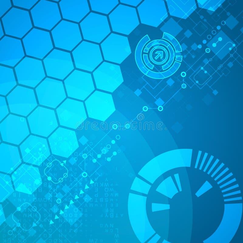 Abstracte technologische achtergrond met diverse elementen stock illustratie