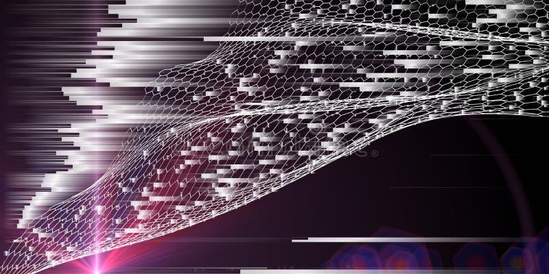 Abstracte technologische achtergrond met wit hexagons net, wazig lijnen en shine Kunstmatige intelligentie en internetconcept royalty-vrije stock afbeeldingen