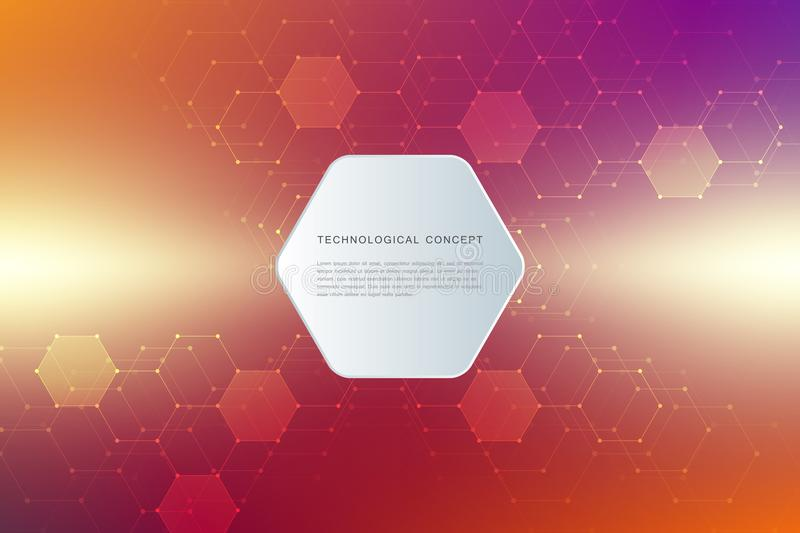 Abstracte technologische en wetenschappelijke achtergrond met zeshoeken Structuurmolecule en mededeling wetenschap royalty-vrije illustratie