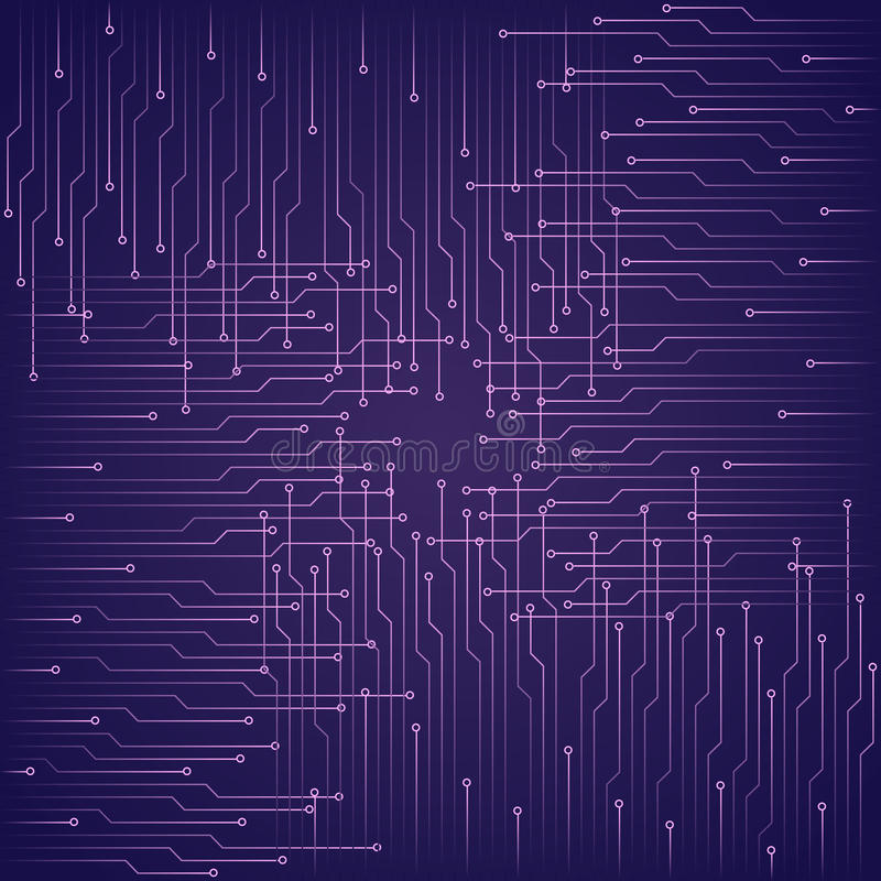 Abstracte technologische purpere achtergrond met elementen van de microchip vector illustratie