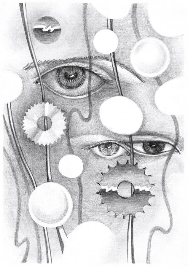 Abstracte tekening van het oog en de voorwerpen royalty-vrije illustratie