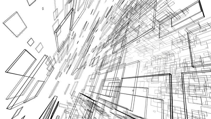 Abstracte tekeningslijnen in architecturaal kunstconcept op wit vector illustratie