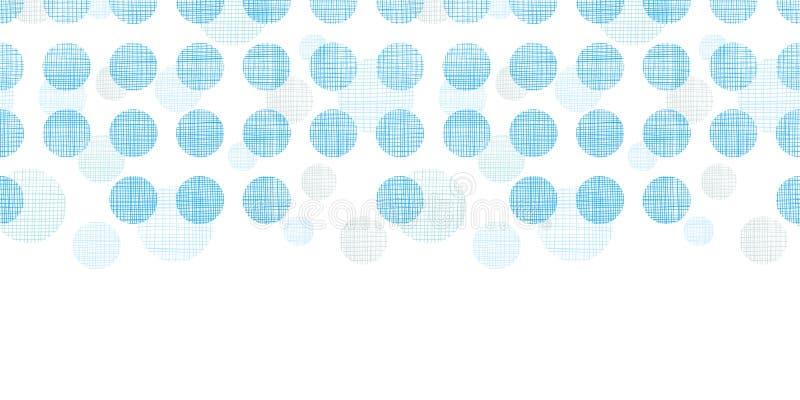 Abstracte textiel blauwe horizontale naadloze het patroonachtergrond van stippenstrepen vector illustratie