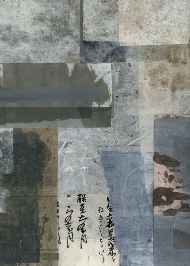 Abstracte Texturencollage die Aziatisch Thema schilderen stock illustratie