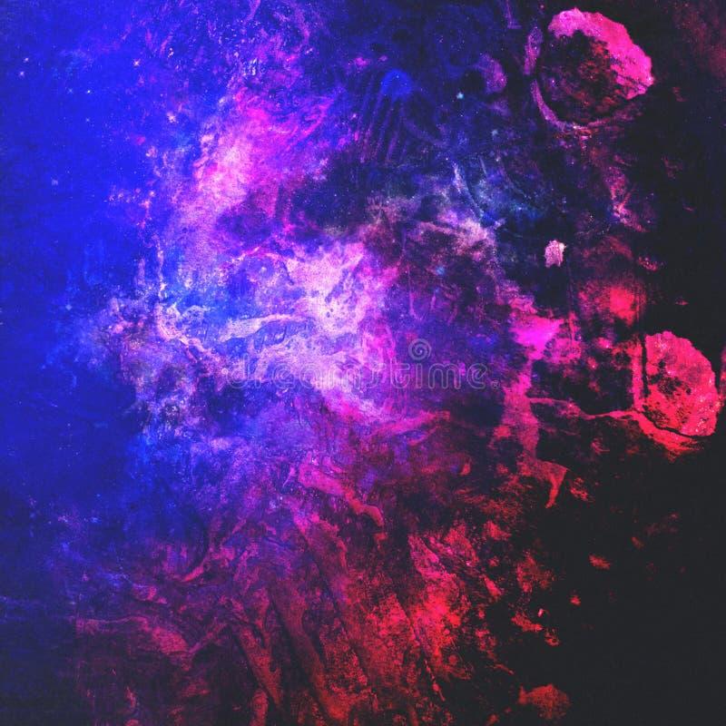 Abstracte textuur met blauw-roze verfvlekken modern digitaal art. Populaire stijl stock illustratie
