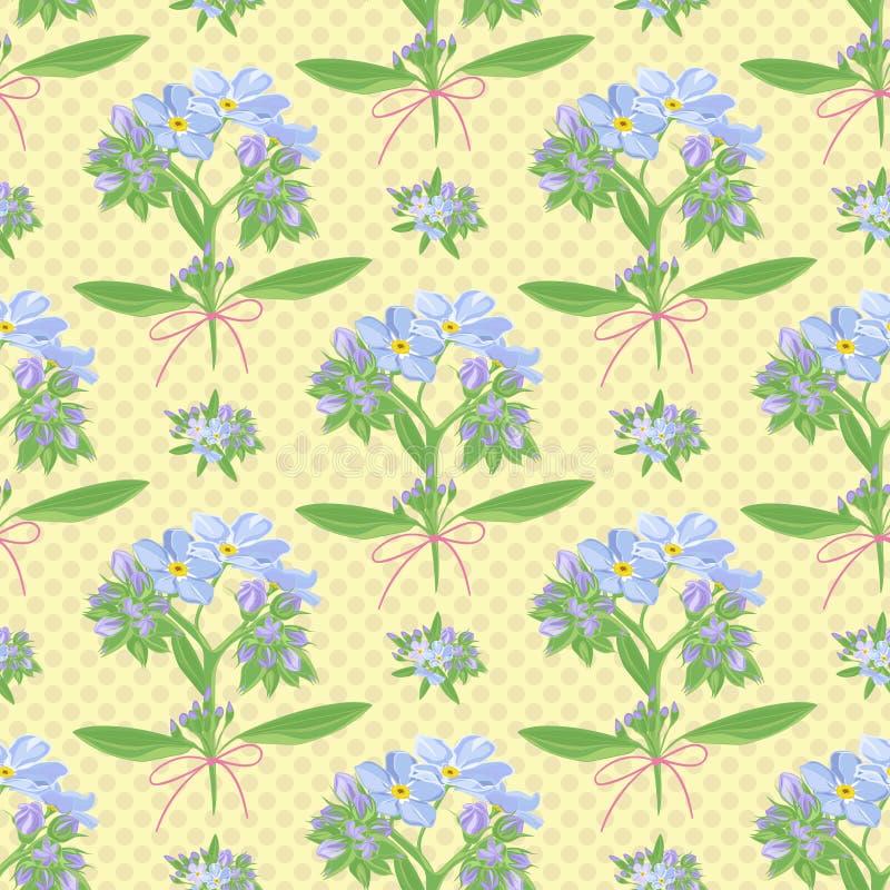 Abstracte textuur met vergeet-mij-nietje Naadloos patroon met het ornament van het bloemboeket stock illustratie