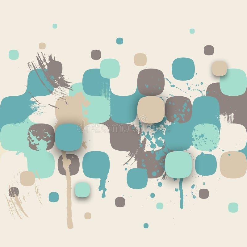 Abstracte textuur met vierkanten en verfplonsen royalty-vrije illustratie