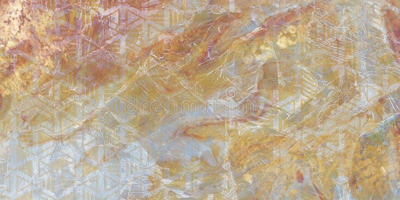 Abstracte textuur modern kunstwerk Het marmeren effect schilderen Gemengde zwart-witte verven Gouden verf Ongebruikelijke in acht royalty-vrije stock foto's