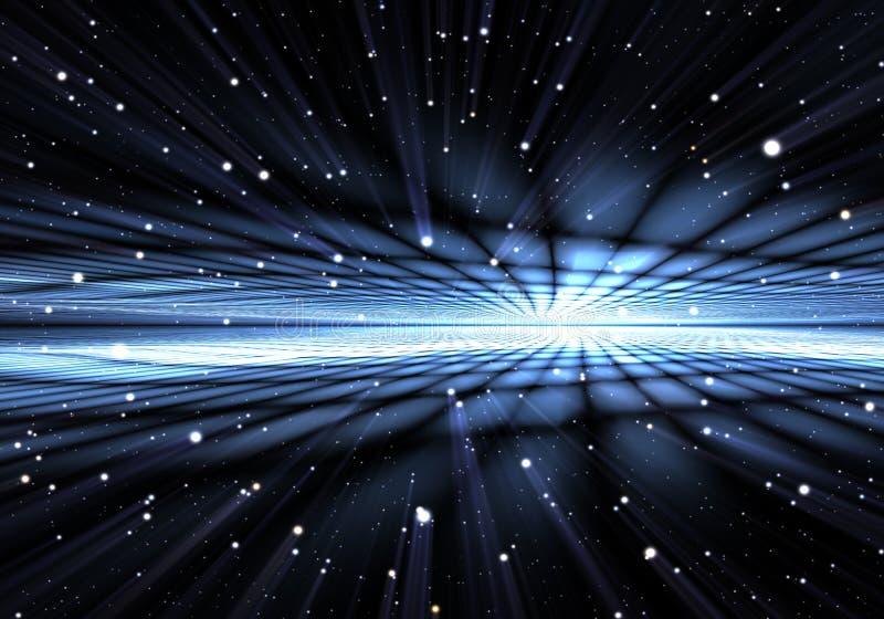 Abstracte tijdafwijking, die in ruimte reizen vector illustratie