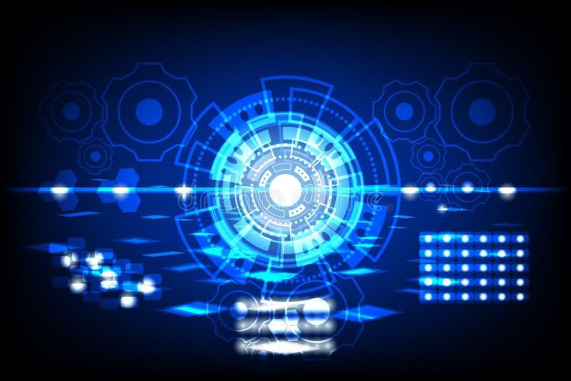 Abstracte Toekomstige cirkel De concepteninnovatie verbindt digitale lijntoekomst in van de het netwerktechnologie van de wereldc royalty-vrije illustratie