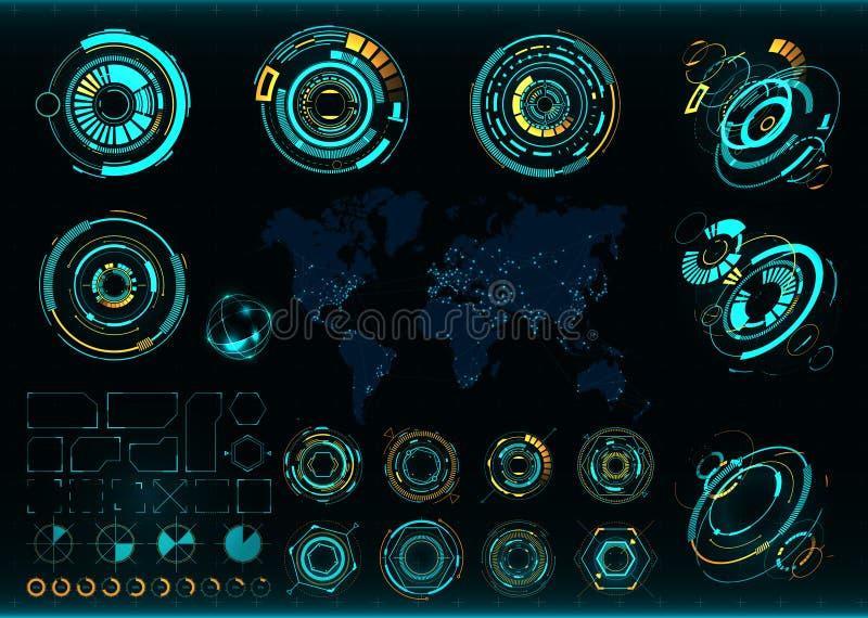 Abstracte toekomstige, vector futuristische interface Communicatie kaart van de wereld stock illustratie